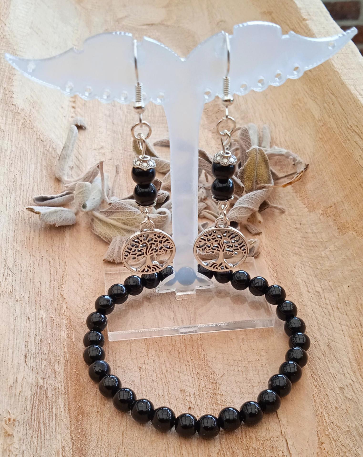 Duo bracelet boucles d oreilles tourmaline